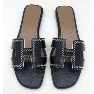 New Hermes Oran Sandals Black SZ 40.5